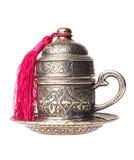 απομονωμένος metall φλυτζάνι Τούρκος καφέ Στοκ εικόνα με δικαίωμα ελεύθερης χρήσης