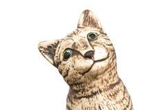 Απομονωμένο άγαλμα της γάτας με το άσπρο υπόβαθρο στοκ φωτογραφία