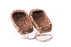απομονωμένο ίνα ραφίας λευκό παπουτσιών Στοκ Εικόνες