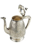 απομονωμένο αναδρομικό ασημένιο teapot κανατών λευκό Στοκ Εικόνες
