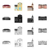 Απομονωμένο αντικείμενο της οικοδόμησης και του μπροστινού εικονιδίου Συλλογή της οικοδόμησης και του διανυσματικού εικονιδίου στ απεικόνιση αποθεμάτων