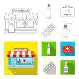 Απομονωμένο αντικείμενο του εικονιδίου φαρμακείων και νοσοκομείων Σύνολο διανυσματικού εικονιδίου φαρμακείων και επιχειρήσεων για διανυσματική απεικόνιση