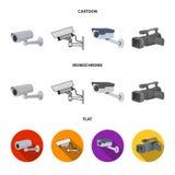 Απομονωμένο αντικείμενο του λογότυπου camcorder και καμερών Συλλογή του camcorder και του διανυσματικού εικονιδίου ταμπλό για το  ελεύθερη απεικόνιση δικαιώματος