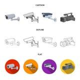Απομονωμένο αντικείμενο του συμβόλου camcorder και καμερών Συλλογή του camcorder και του διανυσματικού εικονιδίου ταμπλό για το α απεικόνιση αποθεμάτων
