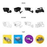 Απομονωμένο αντικείμενο του camcorder και του σημαδιού καμερών Σύνολο συμβόλου αποθεμάτων camcorder και ταμπλό για τον Ιστό απεικόνιση αποθεμάτων