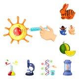 Απομονωμένο αντικείμενο τροποποιημένος και γενετικά εικονίδιο Συλλογή του τροποποιημένου και συμβόλου αποθεμάτων επιστήμης για το διανυσματική απεικόνιση