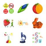 Απομονωμένο αντικείμενο τροποποιημένος και γενετικά λογότυπο Σύνολο τροποποιημένου και διανυσματικού εικονιδίου επιστήμης για το  διανυσματική απεικόνιση