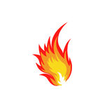 Απομονωμένο αφηρημένο κόκκινο και πορτοκαλί λογότυπο φλογών πυρκαγιάς χρώματος στο άσπρο υπόβαθρο Πυρά προσκόπων logotype Πικάντι Στοκ Εικόνες