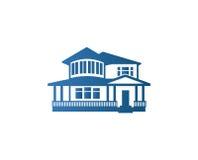 Απομονωμένο αφηρημένο μπλε λογότυπο περιγράμματος σπιτιών χρώματος Ακίνητη περιουσία που χτίζει logotype Επιχειρησιακό εικονίδιο  στοκ εικόνες