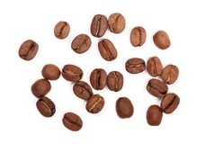 απομονωμένο βλασταημένο λευκό στούντιο φασολιών ανασκόπησης καφές Τοπ όψη Στοκ φωτογραφία με δικαίωμα ελεύθερης χρήσης