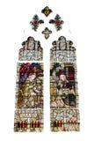 Απομονωμένο γοτθικό λεκιασμένο αναγέννηση γυαλί στο άσπρο υπόβαθρο Στοκ Φωτογραφίες