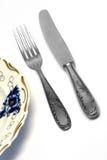 απομονωμένο δίκρανο μαχαί&r στοκ εικόνα με δικαίωμα ελεύθερης χρήσης