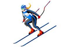 Απομονωμένο διάνυσμα alpine skiing Στοκ Φωτογραφίες