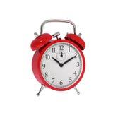 Απομονωμένο εκλεκτής ποιότητας κόκκινο κλασικό ξυπνητήρι Στοκ Φωτογραφία