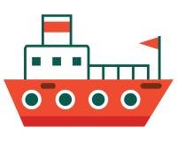 Απομονωμένο επίπεδο διάνυσμα Επιβατηγό πλοίο με τη σημαία - εικονίδιο Στοκ Φωτογραφία