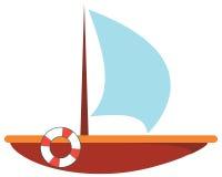 Απομονωμένο επίπεδο διάνυσμα Ξύλινη βάρκα με livebuoy - εικονίδιο Στοκ εικόνες με δικαίωμα ελεύθερης χρήσης