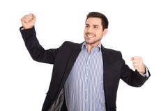 Απομονωμένο επιτυχές επιχειρησιακό άτομο άνω του άσπρου ενθαρρυντικού και ευτυχούς μ στοκ εικόνες με δικαίωμα ελεύθερης χρήσης