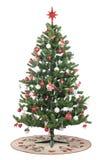 απομονωμένο λευκό δέντρων Χριστουγέννων ανασκόπησης διακοσμήσεις Στοκ Εικόνες