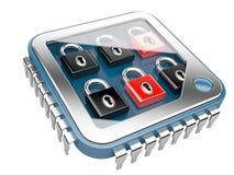 απομονωμένο λευκό ασφάλειας ανασκόπησης έννοια Τσιπ υπολογιστή ΚΜΕ με την κλειδαριά Στοκ φωτογραφία με δικαίωμα ελεύθερης χρήσης