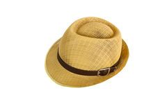 απομονωμένο λευκό αχύρου μονοπατιών ψαλιδίσματος ανασκόπησης καπέλο Στοκ Εικόνες