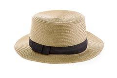 απομονωμένο λευκό αχύρου μονοπατιών ψαλιδίσματος ανασκόπησης καπέλο Στοκ Φωτογραφίες
