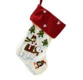 απομονωμένο λευκό γυναικείων καλτσών ανασκόπησης Χριστούγεννα Στοκ Φωτογραφία