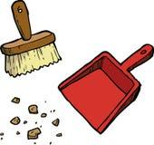 απομονωμένο λευκό εργαλείων καθαρισμού βουρτσών ανασκόπησης dustpan ελεύθερη απεικόνιση δικαιώματος