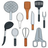 απομονωμένο λευκό εργαλείων κουζινών ανασκόπησης απεικόνιση Στοκ φωτογραφία με δικαίωμα ελεύθερης χρήσης