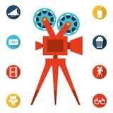 απομονωμένο λευκό σκηνικού κινηματογράφου κινηματογράφων εικονίδια απεικόνιση αποθεμάτων