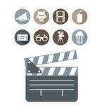 απομονωμένο λευκό σκηνικού κινηματογράφου κινηματογράφων εικονίδια ελεύθερη απεικόνιση δικαιώματος