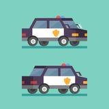 απομονωμένο λευκό ύφους αστυνομίας αυτοκινήτων cartoonish εικόνα Εγκληματικό τμήμα περιπόλου ασφάλειας Επίπεδη διανυσματική μεταφ Στοκ φωτογραφία με δικαίωμα ελεύθερης χρήσης