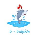 Απομονωμένο ζωικό αλφάβητο για τα παιδιά, Δ για το δελφίνι Στοκ Εικόνα