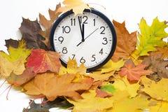 Απομονωμένο ηλεκτρονικό ρολόι τοίχων Αφαίρεση φθινοπώρου Στοκ Φωτογραφία