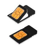 απομονωμένο κάρτες sim λευ& Στοκ εικόνα με δικαίωμα ελεύθερης χρήσης