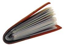 απομονωμένο κάτοχος δέρμα επαγγελματικών καρτών ανασκόπησης κανένα λευκό σκιών Στοκ εικόνες με δικαίωμα ελεύθερης χρήσης