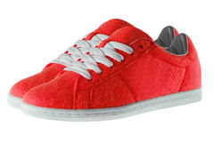 απομονωμένο κόκκινο λευκό παπουτσιών Στοκ Φωτογραφία