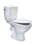 απομονωμένο κύπελλο λευκό τουαλετών στοκ εικόνες