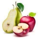 απομονωμένο λευκό αχλαδιών μήλων ανασκόπηση Στοκ Φωτογραφίες