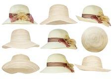 απομονωμένο λευκό αχύρου μονοπατιών ψαλιδίσματος ανασκόπησης καπέλο Στοκ εικόνα με δικαίωμα ελεύθερης χρήσης