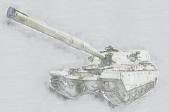 απομονωμένο λευκό δεξαμενών στρατού ανασκόπηση απεικόνιση αποθεμάτων