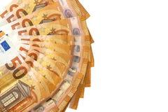 Απομονωμένο λευκό 50 ευρο- τραπεζογραμματίων Στοκ εικόνα με δικαίωμα ελεύθερης χρήσης