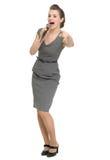 απομονωμένο μικρόφωνο που δείχνει τη γυναίκα εσείς Στοκ Φωτογραφία
