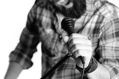 Απομονωμένο μικρόφωνο χέρι ατόμων Στοκ εικόνα με δικαίωμα ελεύθερης χρήσης