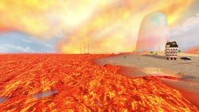 Απομονωμένο νησί σε μια θάλασσα της λάβας, των ηφαιστείων και του καίγοντας ουρανού απόθεμα βίντεο