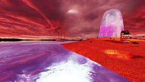 Απομονωμένο νησί σε μια θάλασσα της ειρήνης στο ηλιοβασίλεμα φιλμ μικρού μήκους