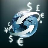 απομονωμένο νομίσματα λευκό μεταφοράς στοιβών αποστολής χρημάτων νόμισμα σφαιρικό Κλεψύδρα, δολάριο και ευρώ Απόθεμα IL Στοκ Φωτογραφία