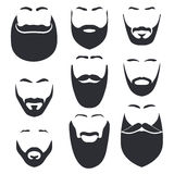 Απομονωμένο πρόσωπο με το mustache και το διανυσματικό σύνολο λογότυπων γενειάδων Έμβλημα καταστημάτων κουρέων ατόμων στοκ εικόνες