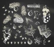 απομονωμένο στοιχεία καθορισμένο διάνυσμα σχεδίου Χριστουγέννων ανασκόπησης μαύρο στοκ φωτογραφίες