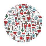 απομονωμένο στοιχείο σύνολο σχεδίου Χριστουγέννων ελεύθερη απεικόνιση δικαιώματος