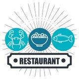 Απομονωμένο σχέδιο εικονιδίων θαλασσινών εστιατορίων λιχουδιές ελεύθερη απεικόνιση δικαιώματος